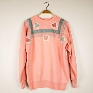 Vintage Coral Quilt Patch Sweatshirt